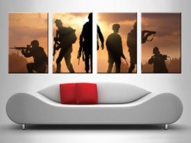 Silhouetted Soldiers military wall art