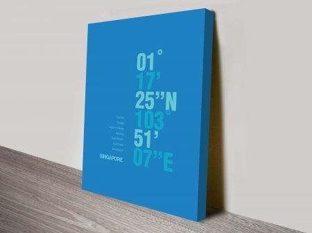 Singapore Blue Coordinates Longitude Latitude Ready to Hang Print Oz