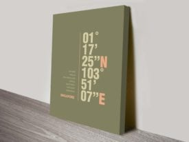 Singapore Khaki Green Coordinates Ready to Hang Canvas Art Oz