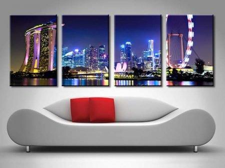 Singapore City Skyline at Night Quad Art Set