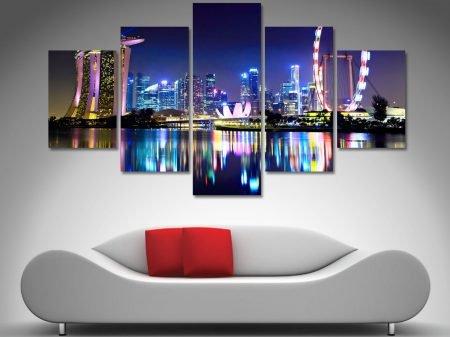 Singapore city skyline canvas