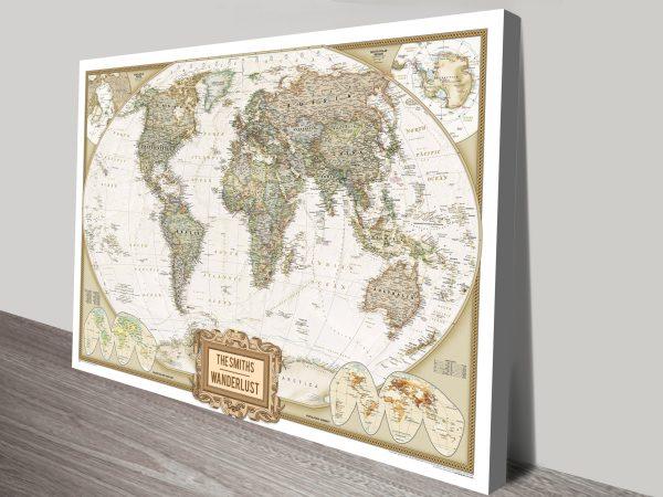 Adventure Push Pin World Map canvas print