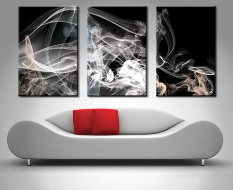 Smoke Composition 3 Panel Canvas Print