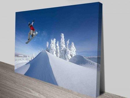Snowboarder Over The Hills Modern Snowboarding Art