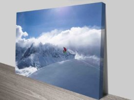 Snowboarder And Mountains In The Distance Modern Winter Art