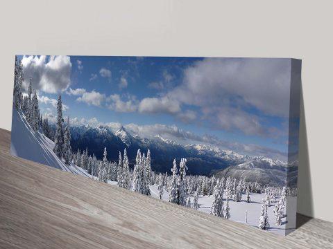 Snowy Panoramic Mountain Photo Canvas Printing