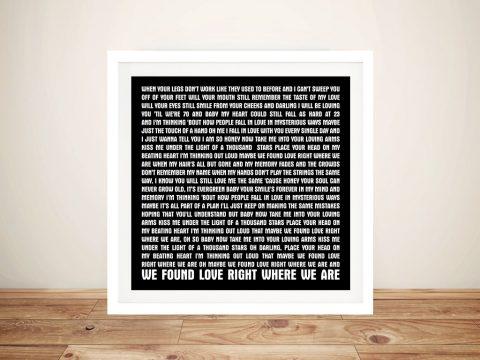 Song Lyrics Artwork Thinking Out Loud Framed Wall art