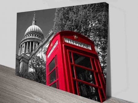 St. Paul's Cathedral Red Telephone Box Black and White Framed Art Print