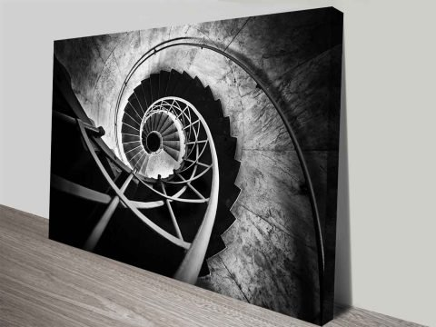 spiral staircase wall art canvas print