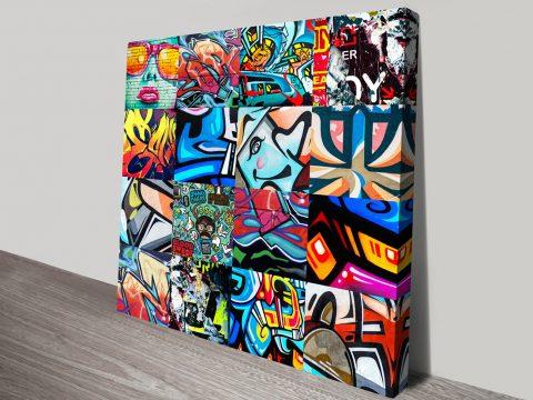 Graffiti Collage Punked Canvas Print