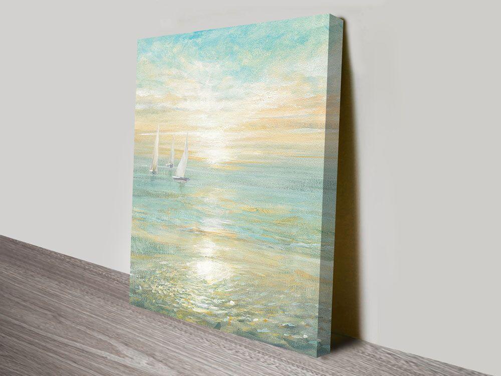 Sunrise Sailboats Ready to Hang Nautical Art