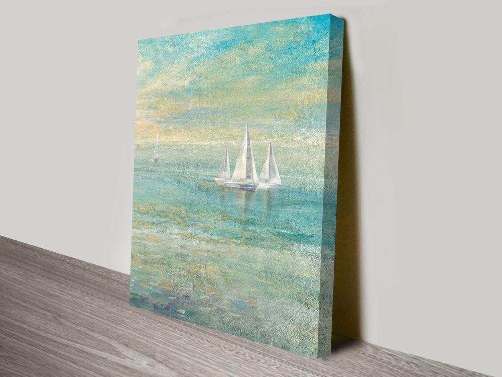 Sunrise Sailboats II Nautical Print on Canvas