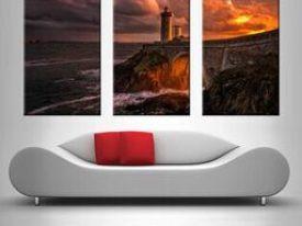 Sunset Lighthouse 3 Panel