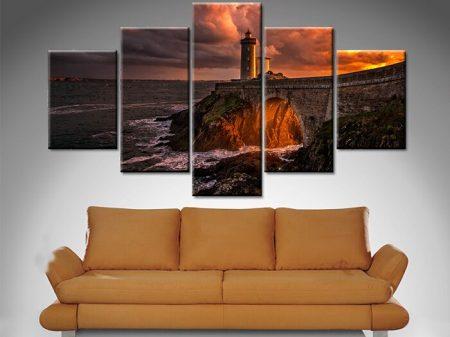 Sunset Lighthouse 5 Panel