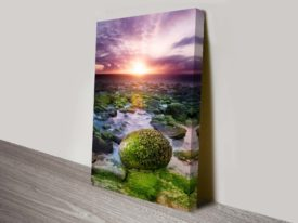Sunset Over Rivers Artwork on Canvas