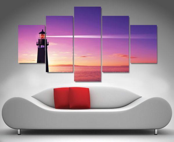 Sunset lighthouse diamond shape canvas