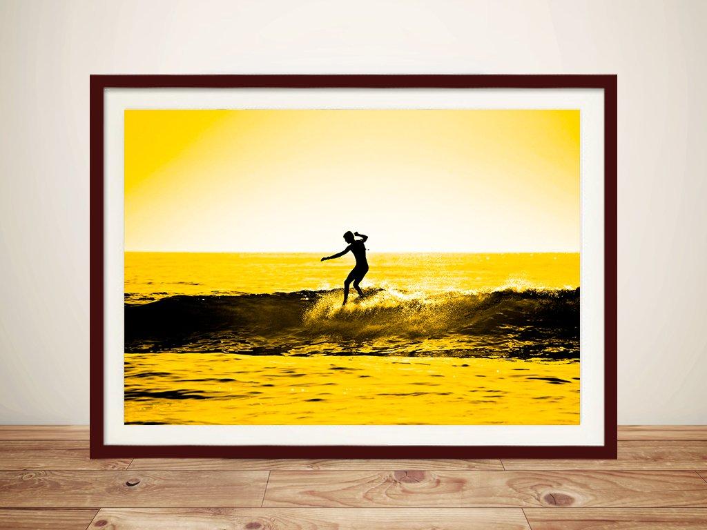 Yellow Sunset Surfing Print Wave Art on Canvas Perth WA Au