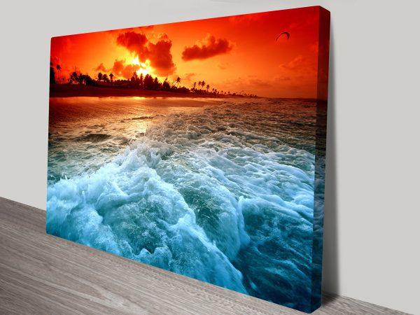 Sunset Churn Seascape Canvas Wall Art