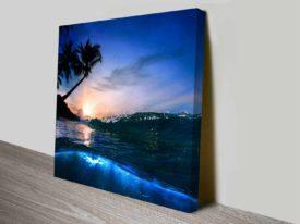 Breaking Waves Series No. 12 Beach at Night Mounted Canvas Wall Art