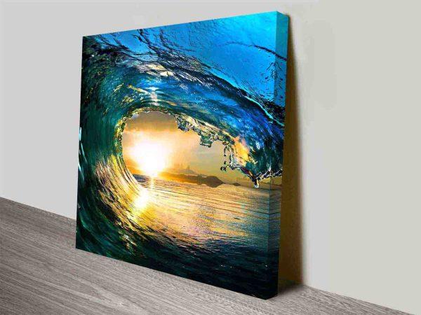 Breaking Waves Series No. 4 Sunset Seascape Canvas Art Print Oz