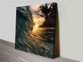 Breaking Waves Series No. 5 Beach Palm Trees Canvas Art Print Oz