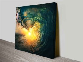 Breaking Waves Series No. 8 Sun Through Barrel of the Wave Art Print