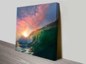 Breaking Waves Series No. 9 Sea Spray Pink Sky Decorative Canvas Print