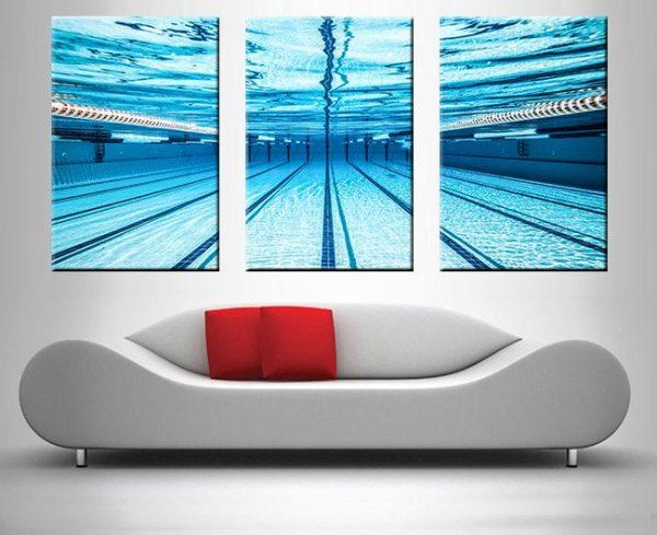swimming pool underwater triptych wall art print on canvas australia