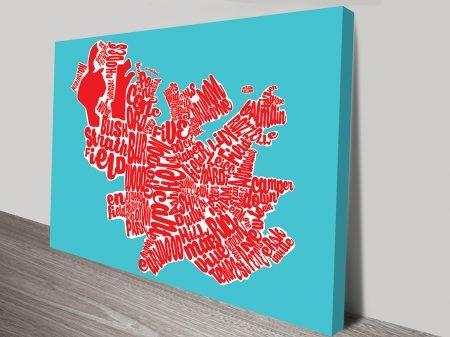 Sydney Inner West Turquoise Map Art