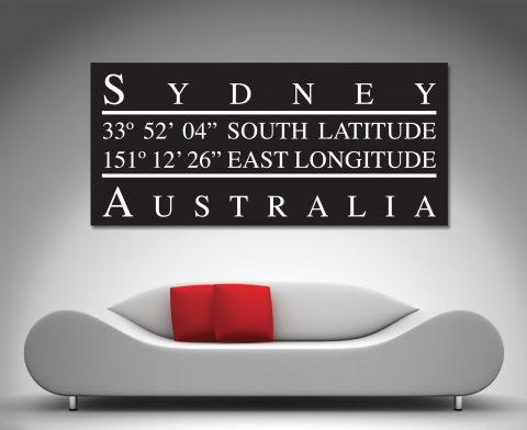 Sydney Longitude Art Wall Art