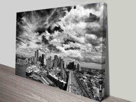 black and white Sydney harbour