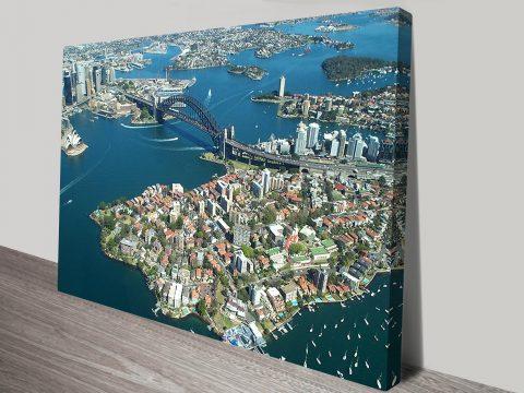 Sydney Harbour Bridge from the air art print