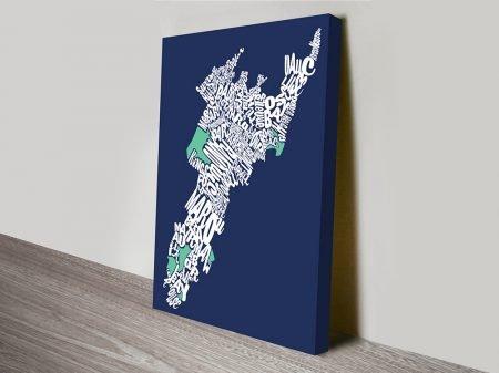 Sydneys Eastern Suburbs Word Map Art