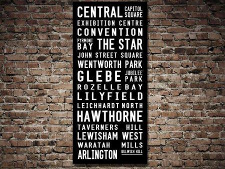 Dulwich Hill Contemporary Tram Destination Scroll Word Art
