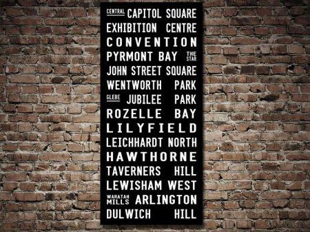 Dulwich Hill Line Tram Scroll Destination Word Art