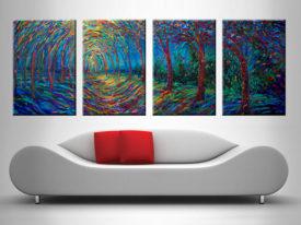House of Moon and Trees 4 Panel Iris Scott
