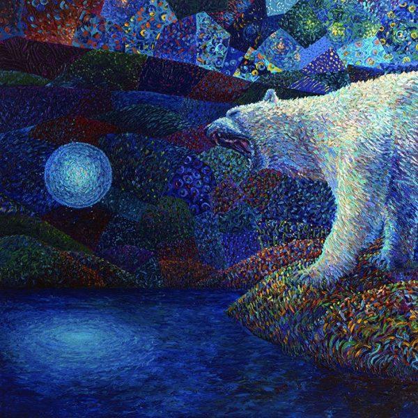 Polarbear-Iris Scott Finger Painting Canvas Picture Print