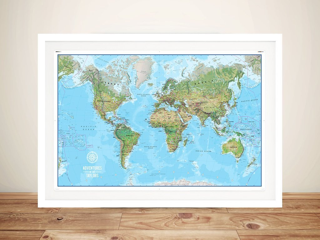 Custom Push Pin World Map Canvas Art Print Sydney Australia