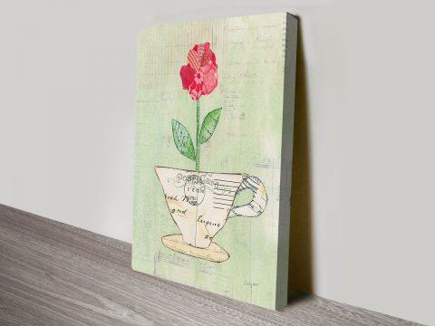 Teacup Floral Canvas Art