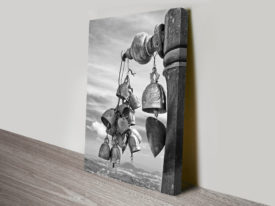 Temple Bells Black and White Canvas Print
