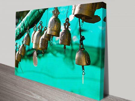 Green Temple Bells Canvas Abstract Wall Art Print