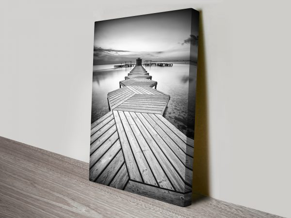 Linear Path Abstract Black and White Canvas Print