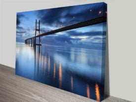 Vasco da Gama Bridge by Night Fall Lisbon Architecture Photographic Art