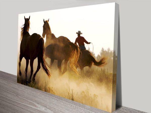 Cowboy & Horses Online Canvas Print