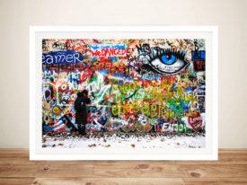 The eye on the wall Graffiti Framed Wall Art