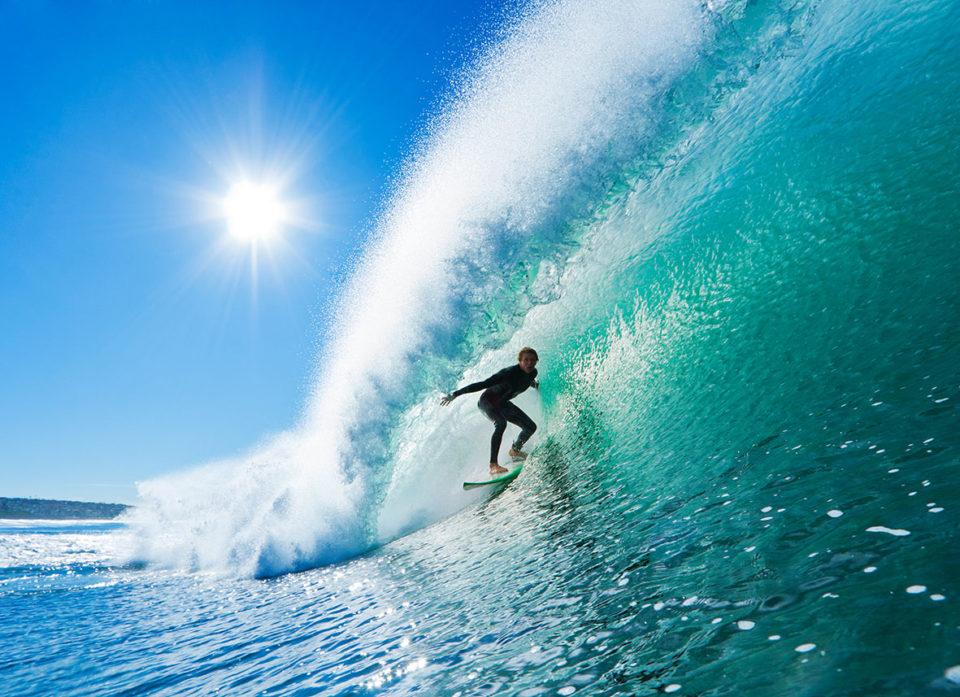 Surfing waves canvas prints australia