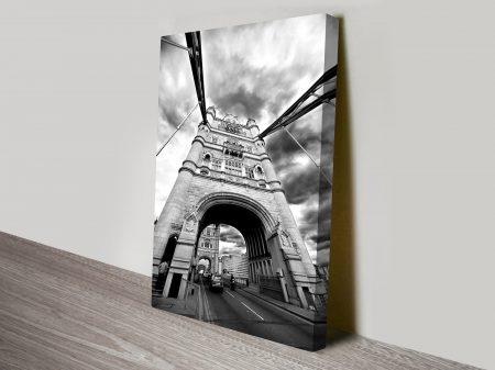 Tower Bridge Black and White Canvas Wall Art