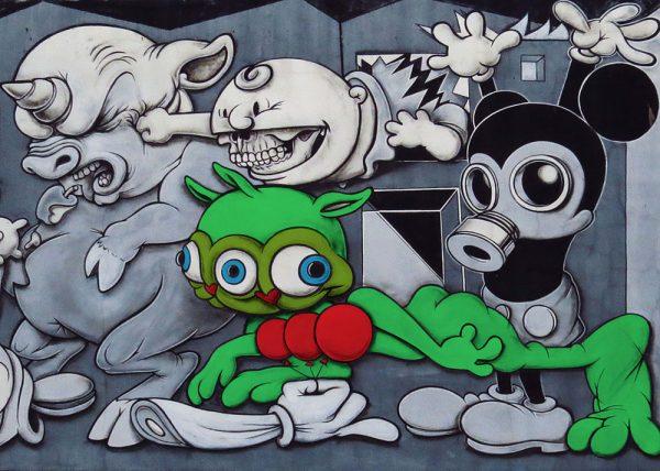 Toxic Mickey Mouse Street art Canvas Print