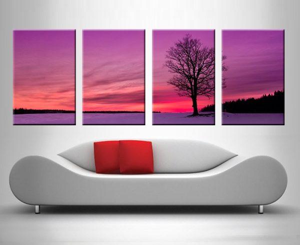 tree at dusk 4 panel wall art print on canvas australia
