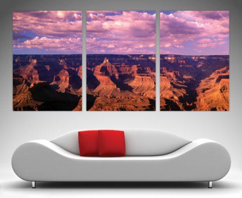 Mountain Triptych Art on Canvas Print